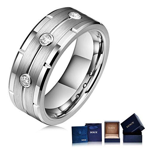 DOUX Men's 8mm Three Zircon Inlay Silver Tungsten Carbide Statement Ring Wedding Ring Jag Edge (Edge 8mm Tungsten Carbide Ring)