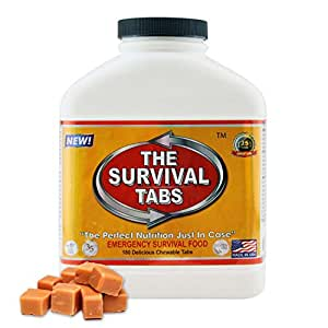 Survival Tabs 15-Day Prepper Food Replacement for Railroad Yard Worker Emergency Food Supply Gluten Free and Non-GMO - Butterscotch Flavor