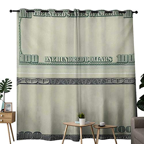 (NUOMANAN Pattern Curtains Money,Hundred Dollar Bill Century Note Design American Currency Style Frame Pattern,Pale Green Grey,Living Room and Bedroom Multicolor Printed Curtain Sets 52