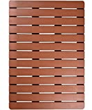 ifrmmy Premium Large Bath Tub Shower Floor Mat made of PVC Wood- Non Slip and Mold Resistant Bathroom mat with Drain Hole- 20'' x 28.5'' (Teak color)