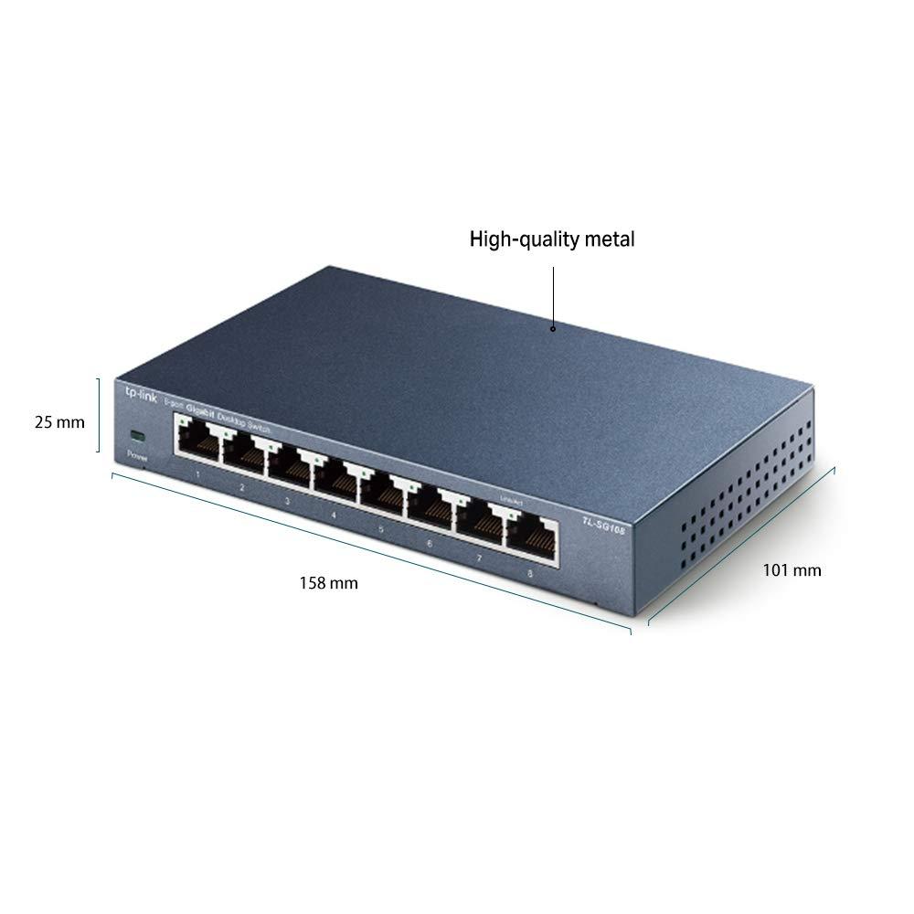 Vitesse jusqu/à 2000Mbps 5 c/âbles TP-Link TL-SG108 Switch Ethernet Gigabit 8 Ports Metallique 10//100//1000 Mbps - Garantie /à Vie /& Basics C/âble r/éseau Ethernet RJ45 cat/égorie/6-3 m