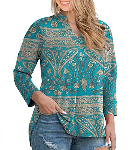 CIZITZZ Womens Floral Printed Tunic Tops 3/4 Roll Sleeve V Neck Blouse Shirt Tunics for Women,BU1,2X