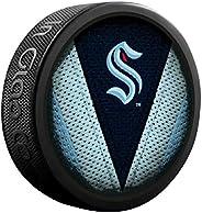 Kraken Hockey Puck with Jersey Stitch Logo Souvenir Hockey Puck
