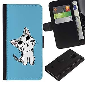 iBinBang / Flip Funda de Cuero Case Cover - Lindo gato pensativo japonesa - Samsung Galaxy S5 Mini, SM-G800, NOT S5 REGULAR!