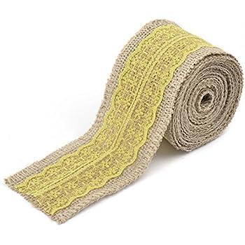 Decoración del Regalo de boda del borde del cordón eDealMax Craft Cinta arpillera Rollo 3.3 yardas Amarillo