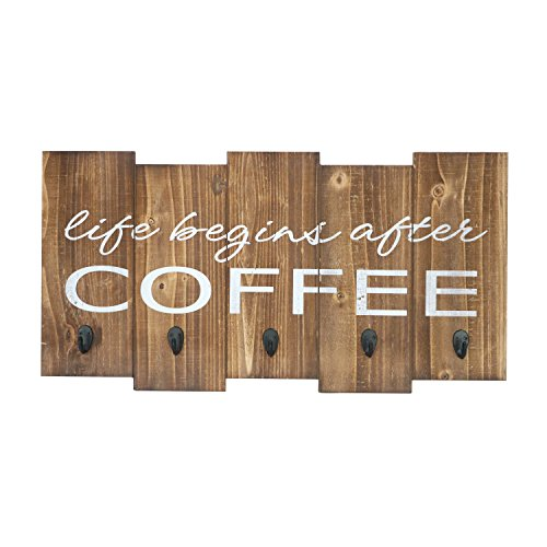"Barnyard Designs Life Begins After Coffee Mug Holder - Rack - Display, Rustic Farmhouse Wood Coffee Wall Decor Sign for Kitchen, Bar, Cafe 25"" x 13"" by Barnyard Designs"