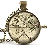 World Map Necklace Pendant, Old Antique Atlas Picture Vintage Necklace, Women Jewelry
