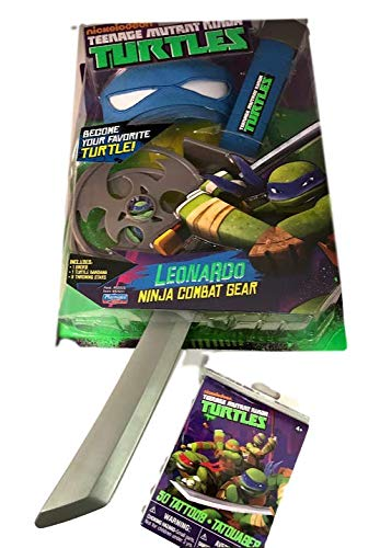 (Teenage Mutant Ninja Turtles Ninja Combat Gear Leonardo w/ Bonus 50 TMNT Tattoos)