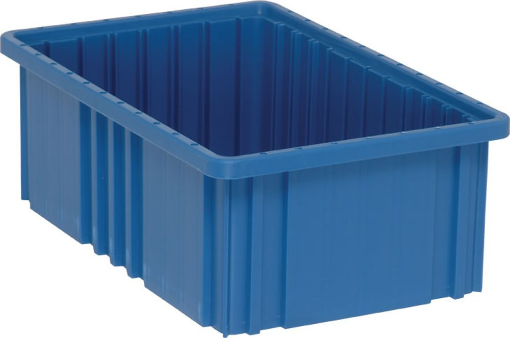 Quantum Storage Systems DG92060BL Dividable Grid Container 16-1/2-Inch Long by 10-7/8-Inch Wide by 6-Inch High, Blue, 8-Pack