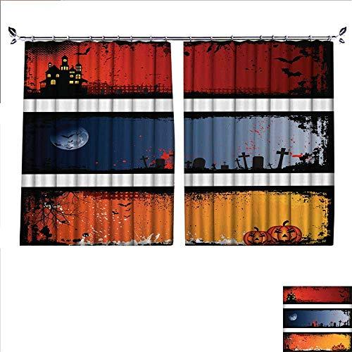 DragonBuildingMaterials Blackout Draperies for Bedroom Grunge Halloween Backgrounds W55 x -