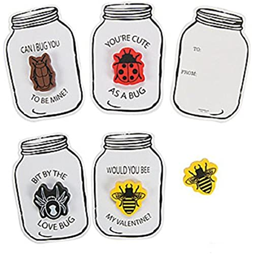 Bug Jar Eraser Valentine Cards with Cute Erasers Sales