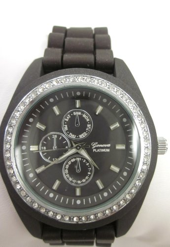 Geneva Platinum Cz Accented Dark Brown Silicone Link Watch, Large Face. Faux Chronograph on Face