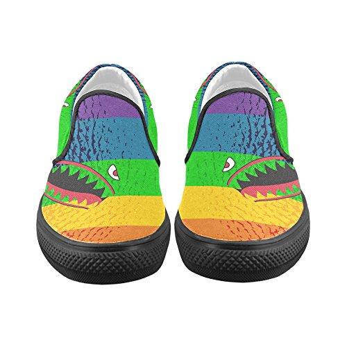 D-histoire Custom Sneaker Requin Dents Fleurs De Cerisier Dans Le Ciel Womens Inhabituelle Slip-on Toile Chaussures Shark3