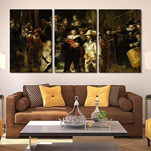 (3 Panel World Famous Painting Reproduction on Canvas Wall Art Poster Art Pictures Print Painting - The Nightwatch by Rembrandt - Modern Home Decor Stretched Framed Ready to Hang - 16