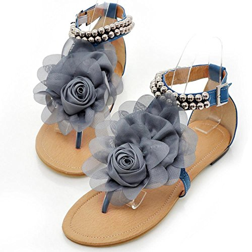 RAZAMAZA Zapatos Mujer Clip Toe Al Tobillo Plano Verano Sandalias De Flor 3311 Azul