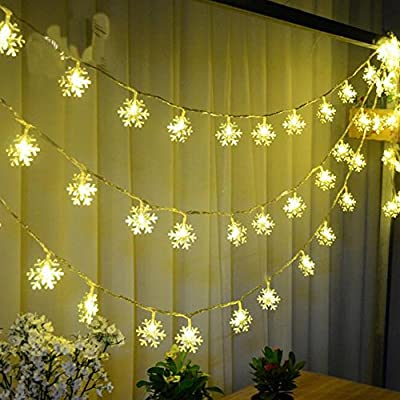 Jxz-H String Lights 40 Leds 16feet/5m Long Snowflakes Fairy Lights Starry Light for Gardens, Home, Wedding, Christmas Party, Battery-powered