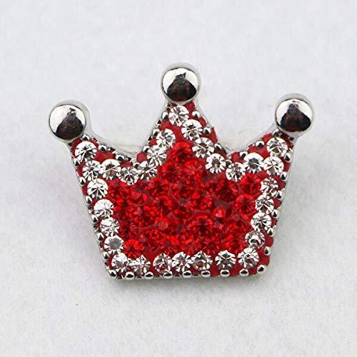 (Gift | Crown Full Red White Rhinestone Metal Snap Button Charm | Fit DIY DIY Snap Bracelets)
