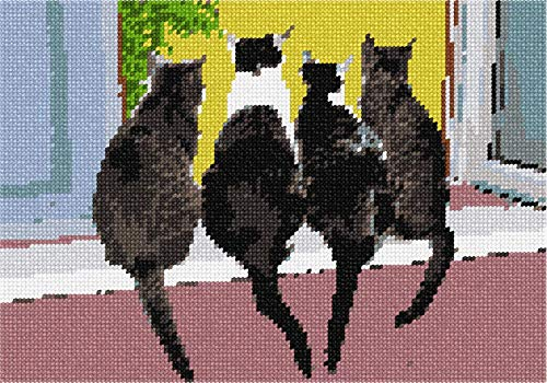 (Pepita Cats in A Row Needlepoint Canvas)