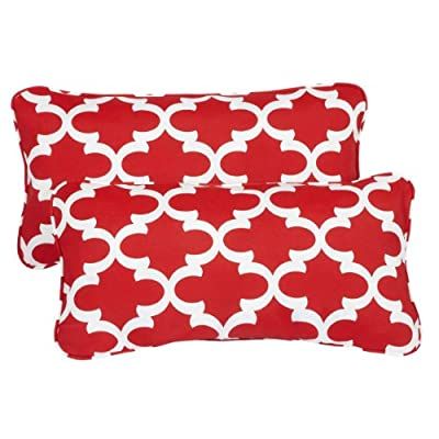 Mozaic AZPS2021 Indoor Outdoor Lumbar Pillows with Corded Edges, Set of 2, 12 x 24 inches, red - Color: Scalloped Red Materials: Polyester fabric, filled with 100% recycled polyester fiber Weather, mildew, fade and stain resistant with UV protection - patio, outdoor-throw-pillows, outdoor-decor - 51mt7OvgN2L. SS400  -