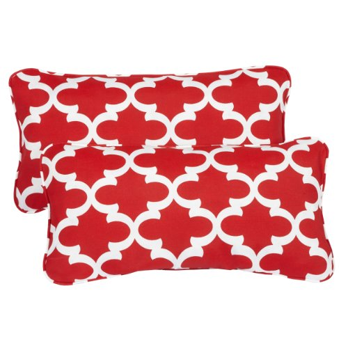 r/ Outdoor 12 by 24-inch Corded Pillow, Scalloped Red, Set of 2 ()