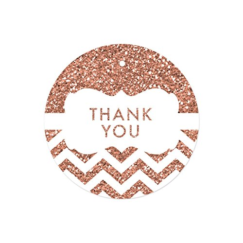 Andaz Press Round Circle Gift Tags, Faux Rose Gold Glitter Chevron Frame, Thank You, 24-Pack, Colored Party Favors and Decorations