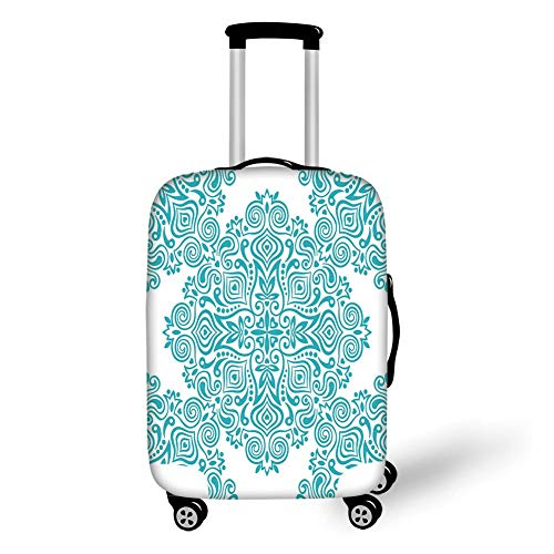 Travel Luggage Cover Suitcase Protector,Light Blue,Arabesque Style Ethnic Fashion Motifs Mandala Inspired Design Tribal Tile Decorative,Light Blue White,for TravelXL 29.9x39.7Inch