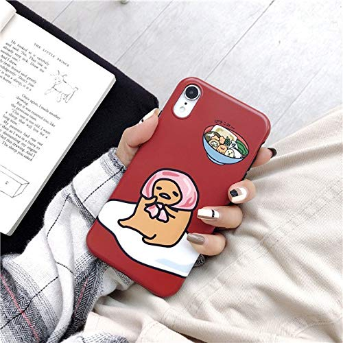 for iPhone X & XS & XR & XS MAX - Cute Funny Egg Cartoon Gudetama Soft TPU Silicone IMD Phone Case for iPhone 8 8Plus 7 7Plus 6 6S Plus X XR XS Max Cases Cover - by ANNELE - 1 PCs ()