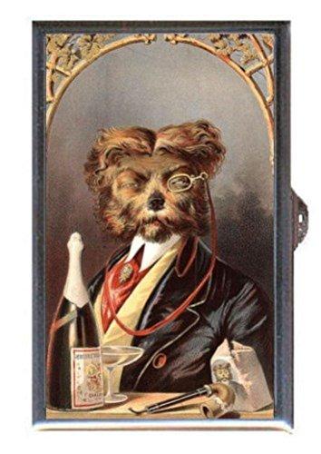 Dog Drinks Champagne Vintage Illustration Decorative Pill ()