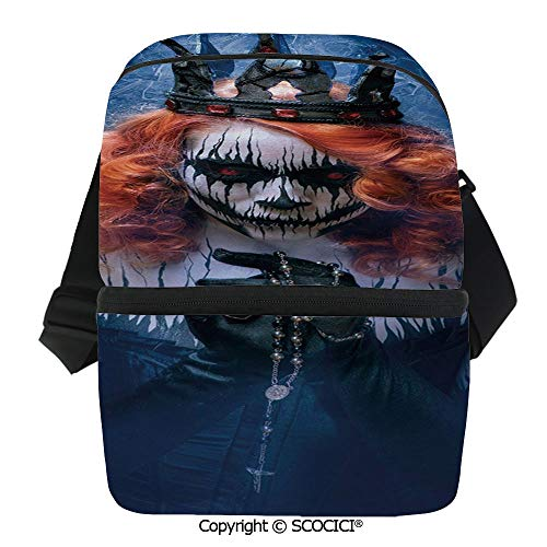 SCOCICI Collapsible Cooler Bag Queen of Death Scary Body Art Halloween Evil Face Bizarre Make Up Zombie Insulated Soft Lunch Leakproof Cooler Bag for Camping,Picnic,BBQ]()