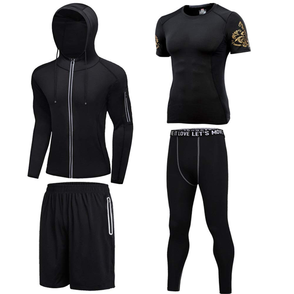 Gym Wear Fitness Bekleidung Set Mens 4 stücke Sport Gym Fitness Kleidung Set Hoodies Jacken Langarm Lose Passende Shorts Kompression Hosen Für Workout Training Laufen Trainingsanzüge ( Size : XXL )
