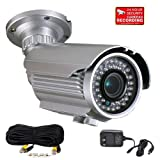 """VideoSecu 700TVL Built-in 1/3"""" Sony Effio CCD OSD Menu Surveillance Security Camera Day Night Vision Outdoor Infrared 4-9mm Zoom Focus Lens 42 IR LEDs for CCTV DVR Home Surveillance with bonus Power Supply, Extension Cable and Security Warning Decal WG2, Best Gadgets"""
