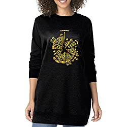 UanshanH The City Boundary Women's Fashion Long Loose Sweatshirt Long Sleeve Classy Long Sweatershirts Without Pockets S