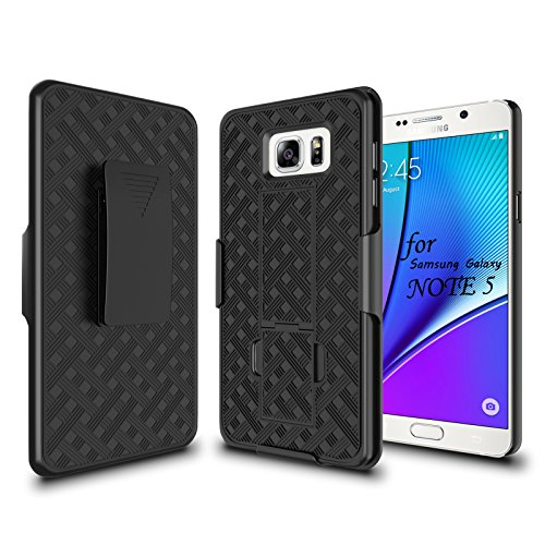 Galaxy Note 5 Case, Galaxy Note 5 Belt, Jeylly Holster Clip Cover Shell Ultra Slim Built-In Stand Kickstand + Swivel Dual Layer Combo Case Cover for Samsung Galaxy Note 5 - Black (Combo Stand Holster)
