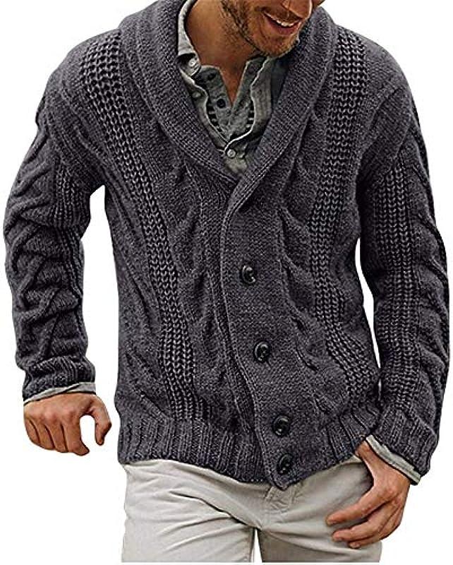 BGTEEVER Winter Autumn Middle-Long Mens Sweater Cardigan Coat Male Warm Jacket Sweater Male Knit Outwear,Dark Gray,X-L: Odzież