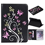 MEIRISHUN Fashion Floral Butterfly Embossed PU Leather Magnetic Flip Cover Card Holders Hand Strap protection case for Apple iPad Mini 1/ 2/ 3 - Black