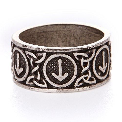 (QIANJI Tiwaz Ring Men Viking Rune Ring Pagan Norse Aatique Silver)