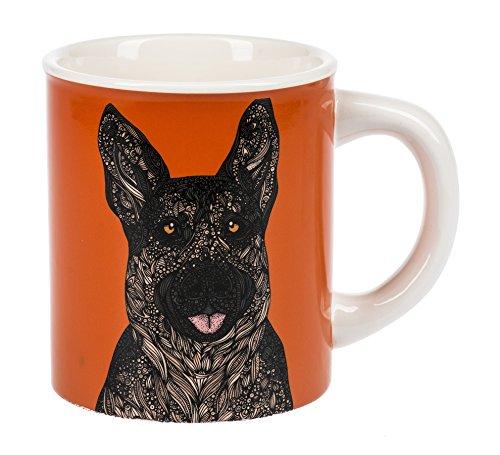 - Curious German Shepherd Dog Burnt Orange Dolomite Ceramic 14 Ounce Coffee Mug