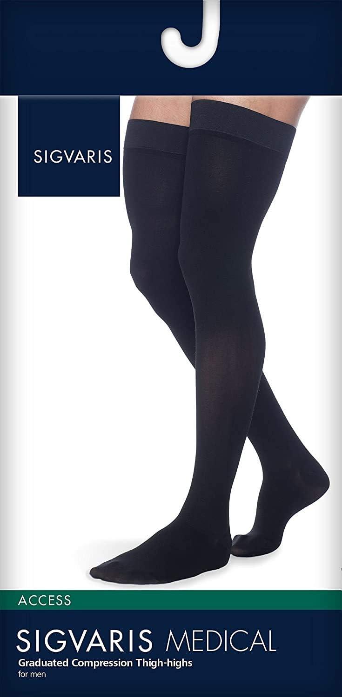 SIGVARIS Men/'s DYNAVEN Closed Toe Thigh-Highs w//Grip-Top 20-30mmHg