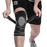 Berter Knee Support, Compression Knee Brace with Non-slip Adjustable Pressure Strap for Pain Relief Meniscus Tear, Arthritis, Running, Basketball, MCL, Crossfit, Jogging Post Surgery Recovery Men & Women