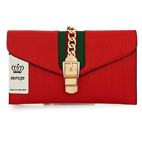 EROUGE Evening Clutch Bag Fashion Shoulder Messenger Bag Designer Handbags for Women (Red)