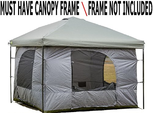 Enclosed Canopy (Standing Room 100 XL Family Cabin Camping Tent With 8.5 feet of Head Room,4 Big Screen Doors, Fast & Easy Set Up. Canopy Frame Not)