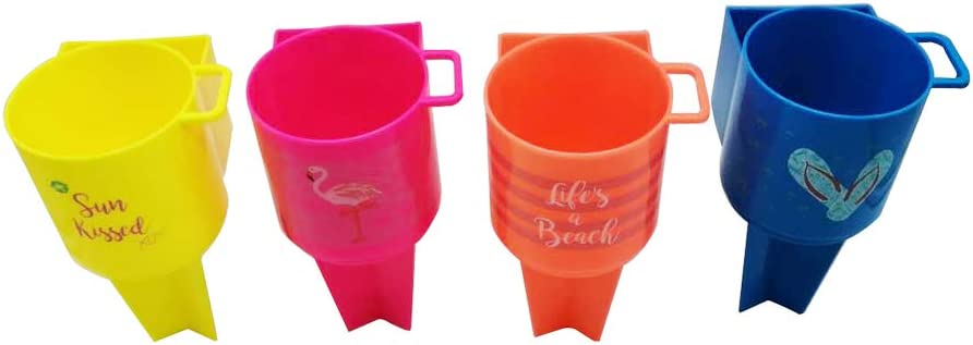 HKeeper Beach Cup Holder Vacation Accessories Beach Sand Coasters Drink Cup Holders Multicolor 4, Polypropylene