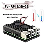 Jun-Electron for Raspberry Pi 3/Pi 3 B+ Case, Dual Cooling Fan, Enclosure Aluminum Alloy Case with Heat-Sink Pillar (Dual Fan Case)