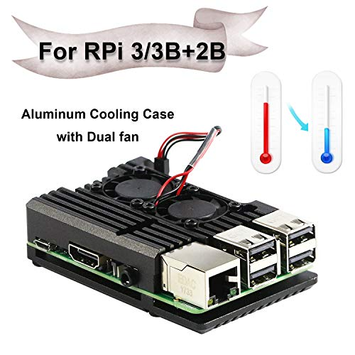 Jun-Electron for Raspberry Pi 3/Pi 3 B+ Case, Dual Cooling Fan, Enclosure Aluminum Alloy Case with Heat-Sink Pillar (Dual Fan Case) (Best Cooling Case For Raspberry Pi 3)