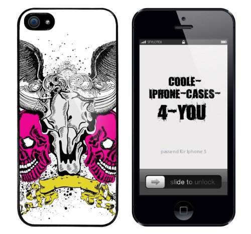 Iphone 5 / 5S Schutzhülle Pair of Skulls - schwarzer Rahmen