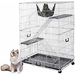 "Yescom 51""x36""x22"" Large Cat Pets Wire Cage 2 Door Playpen w/ Hammock 2 Ramp Ladders (White Vein)"