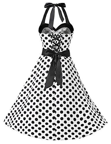 HUINI Vintage Kleid Neckholder Polka Dots Retro 50er 60er Jahre Rockabilly  Swing Kleid Pinup Ärmellos Cocktailkleid ... d897ee8474
