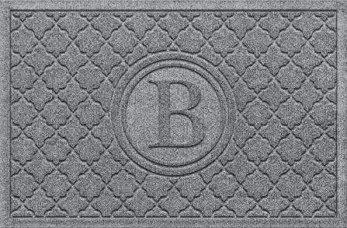 Bombay Collection Rug - Bungalow Flooring Monogrammed Waterhog Doormat, 2' x 3', Customizable, Skid Resistant, Easy to Clean, Catches Water and Debris, Cordova Bombay Collection, Medium Grey
