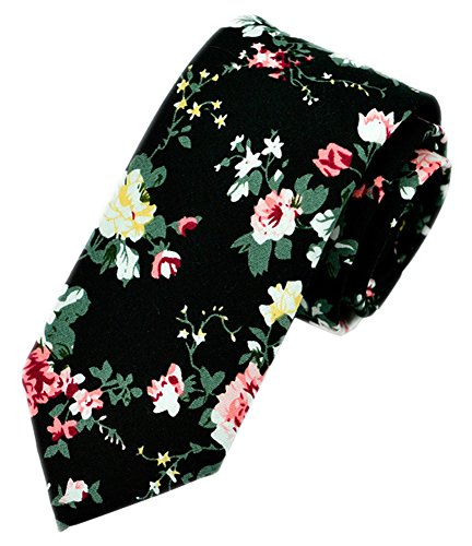 Men In Black Fancy Dress (Secdtie Men's Skinny Tie Fashion Causal Cotton Floral Printed Linen Necktie MK10)