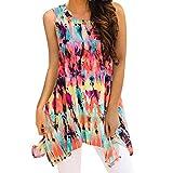 Ankola Blouse Top Hot Sale Womens Summer Sleeveless Floral Print Irregular Hem Asymmetrical Loose Fit Tunic Tops (Multicolor, S)
